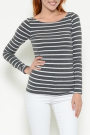 Heart & Hips Charcoal Stripe Tee - Product Mini Image