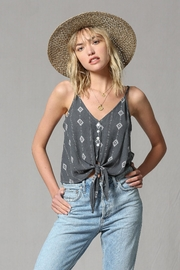 By Together Charcoal Tiefront Cami - Front cropped