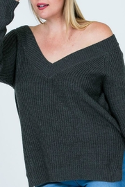 Cozy Casual Charcoal V-Neck Sweater - Product Mini Image