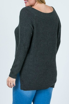 Cozy Casual Charcoal V-Neck Sweater - Alternate List Image