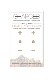 CHARGED Rose Quartz Earrings - Front cropped