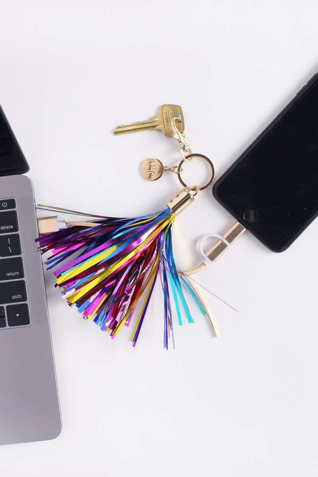 Packed Party Charging Cord Keychain - Side Cropped Image