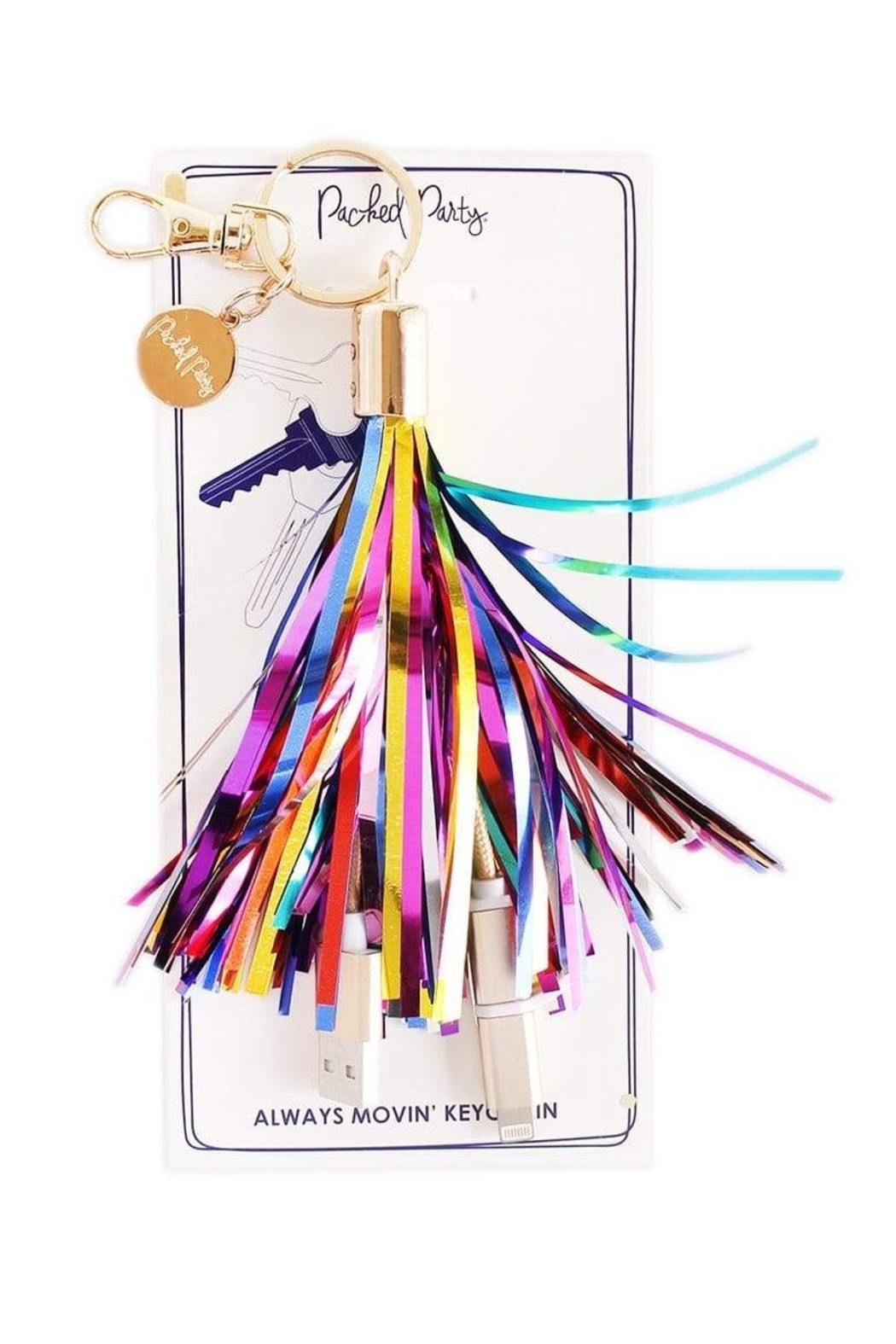 Packed Party Charging Cord Keychain - Front Cropped Image