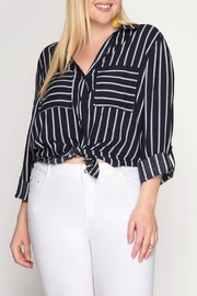 She + Sky Charlene Navy Blouse - Product Mini Image