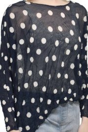 Charlie B Navy Polka Dot Top - Product Mini Image