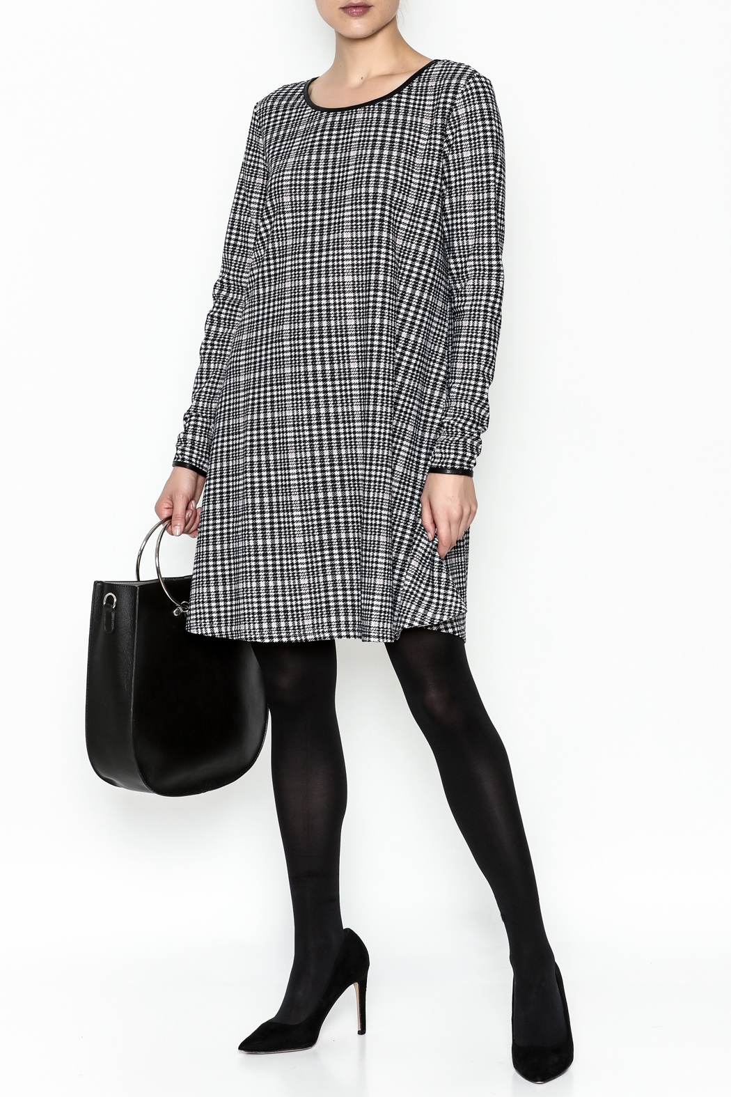 Charlie Paige Houndstooth Check Dress - Side Cropped Image