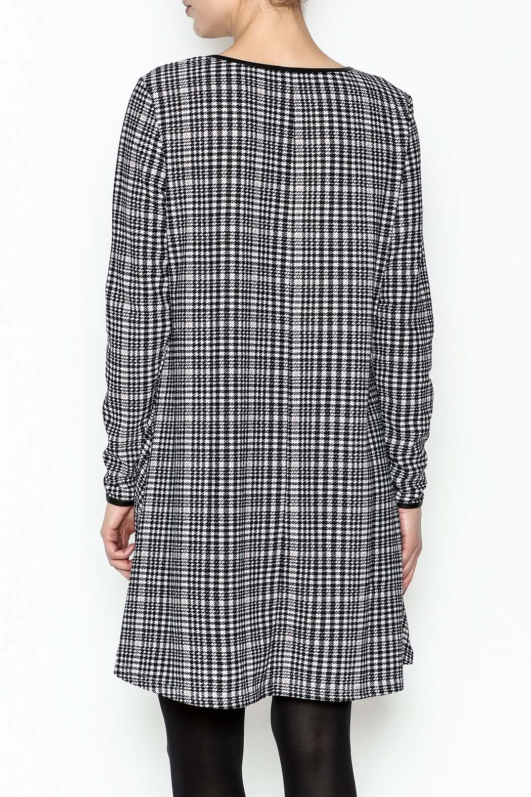 Charlie Paige Houndstooth Check Dress - Back Cropped Image