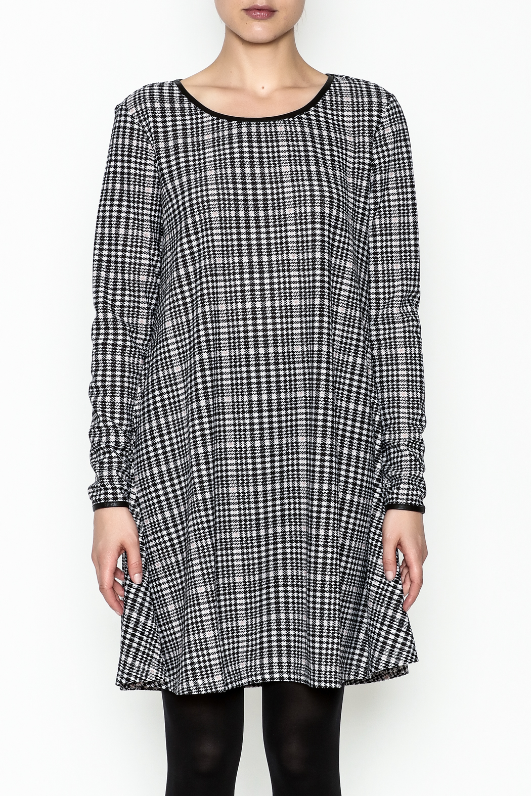 Charlie Paige Houndstooth Check Dress - Front Full Image