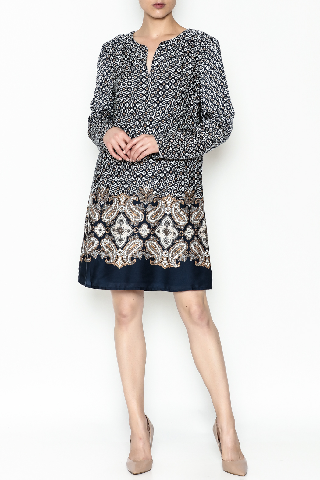 Charlie Paige Paisley Border Dress - Side Cropped Image