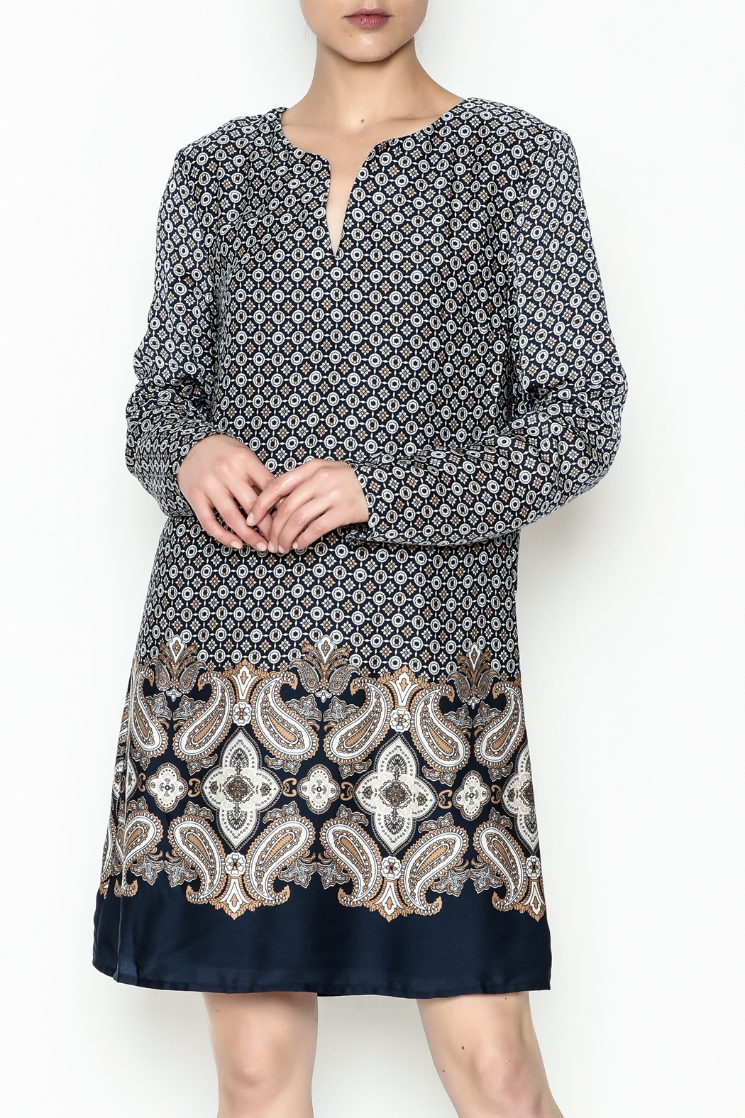 Charlie Paige Paisley Border Dress - Front Cropped Image