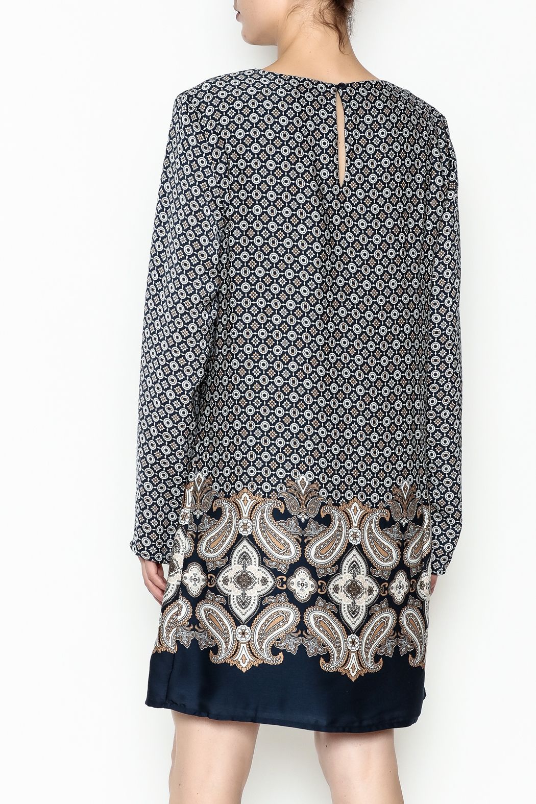 Charlie Paige Paisley Border Dress - Back Cropped Image