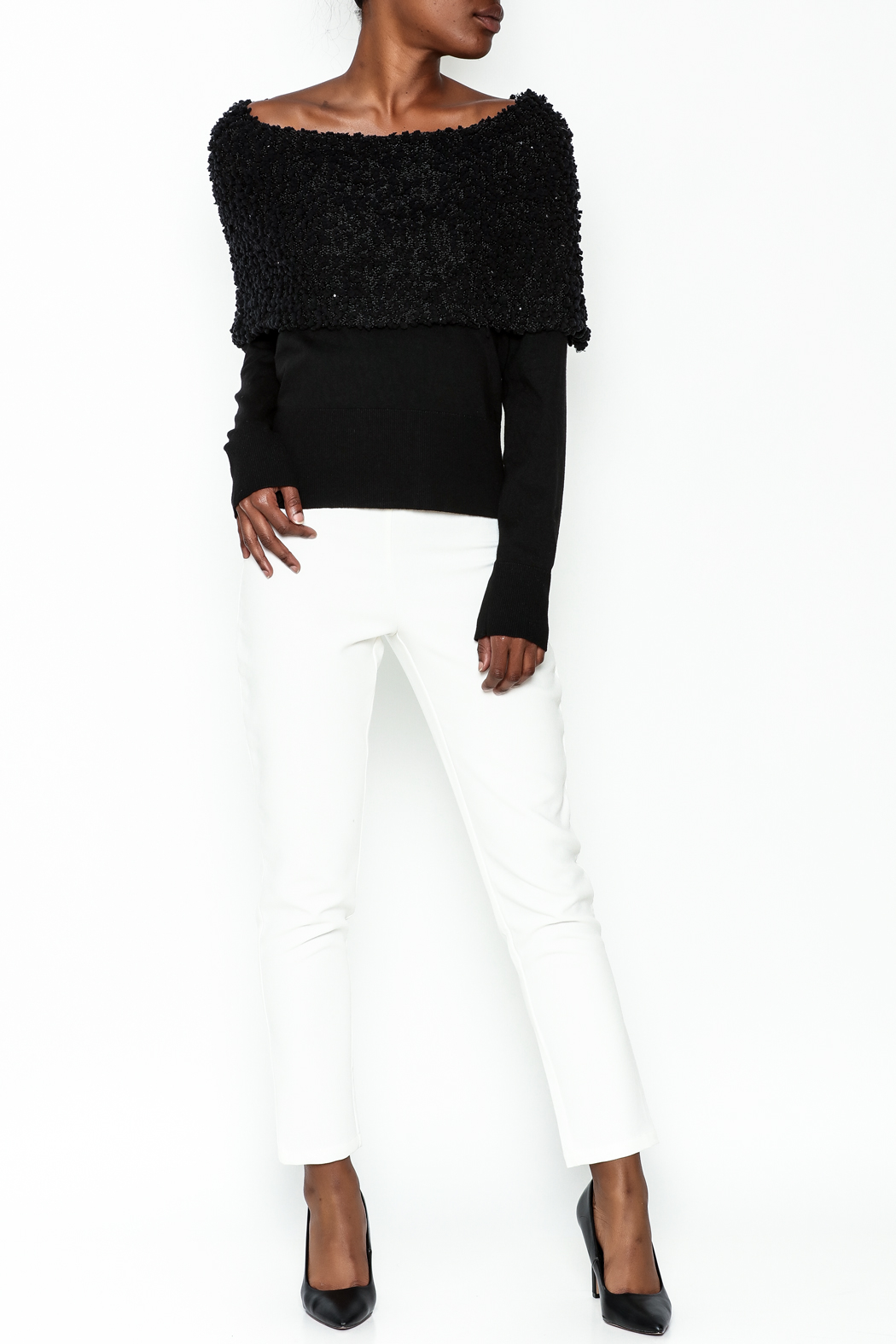 Charlie Paige Sparkle Collar Sweater - Side Cropped Image
