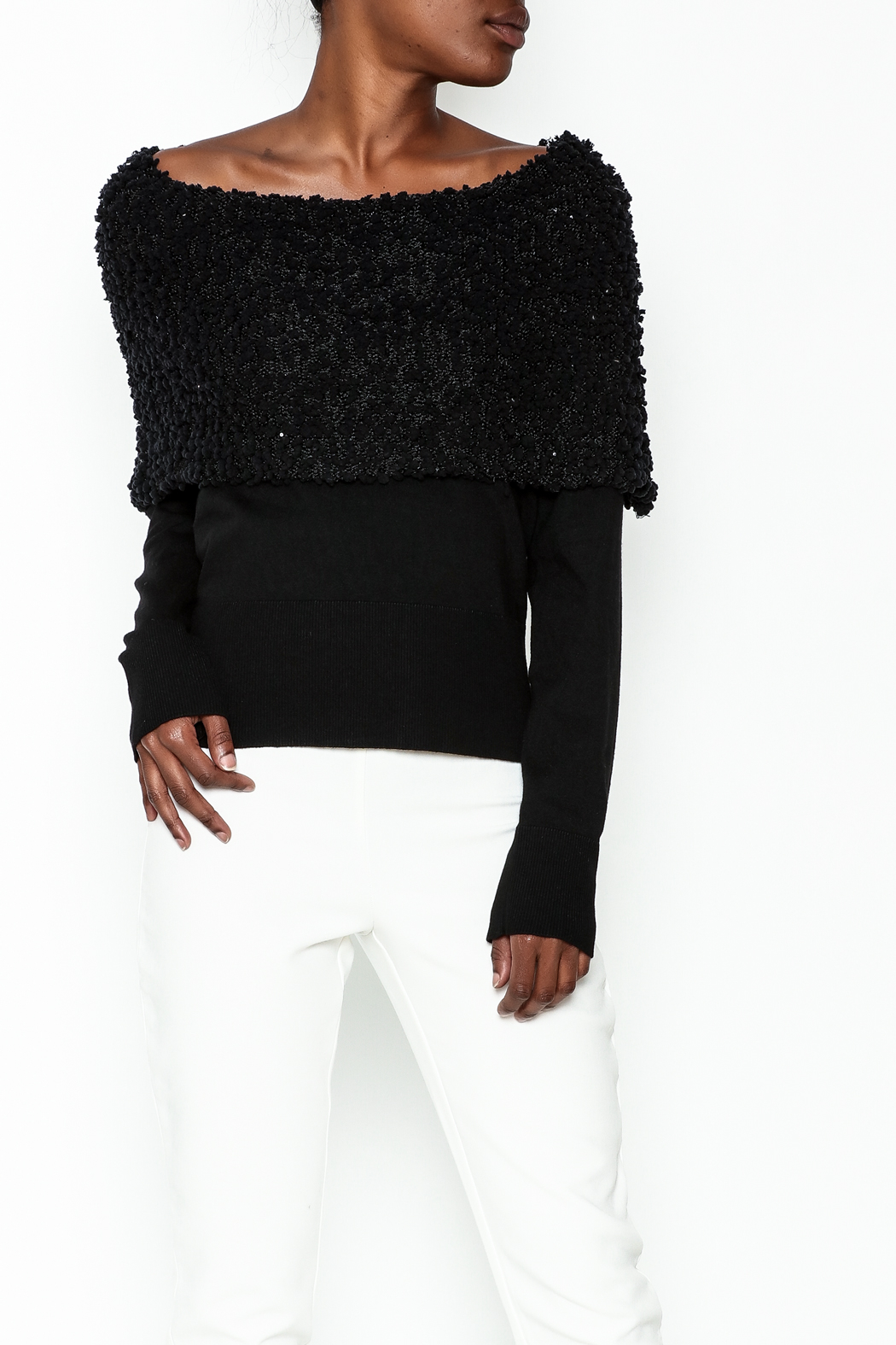 Charlie Paige Sparkle Collar Sweater - Main Image