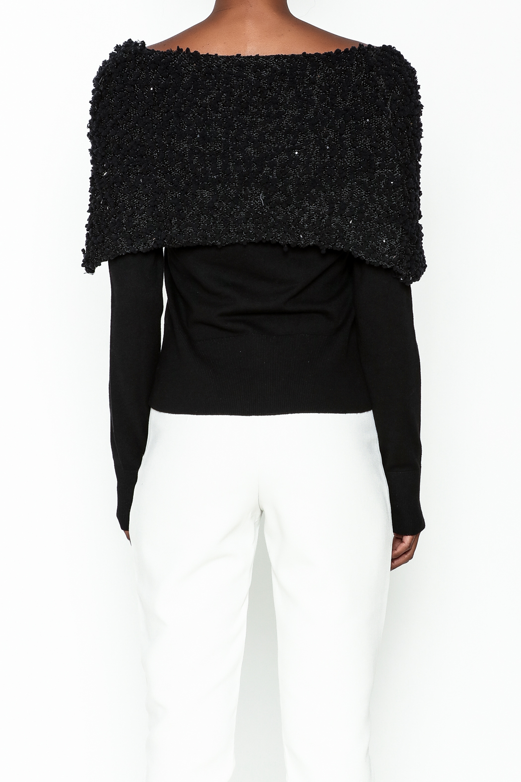 Charlie Paige Sparkle Collar Sweater - Back Cropped Image