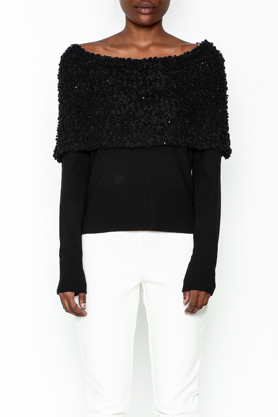 Charlie Paige Sparkle Collar Sweater - Front Full Image