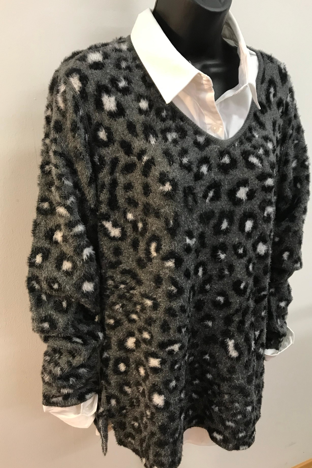 Charlie B. Animal Print Plush Sweater - Front Cropped Image
