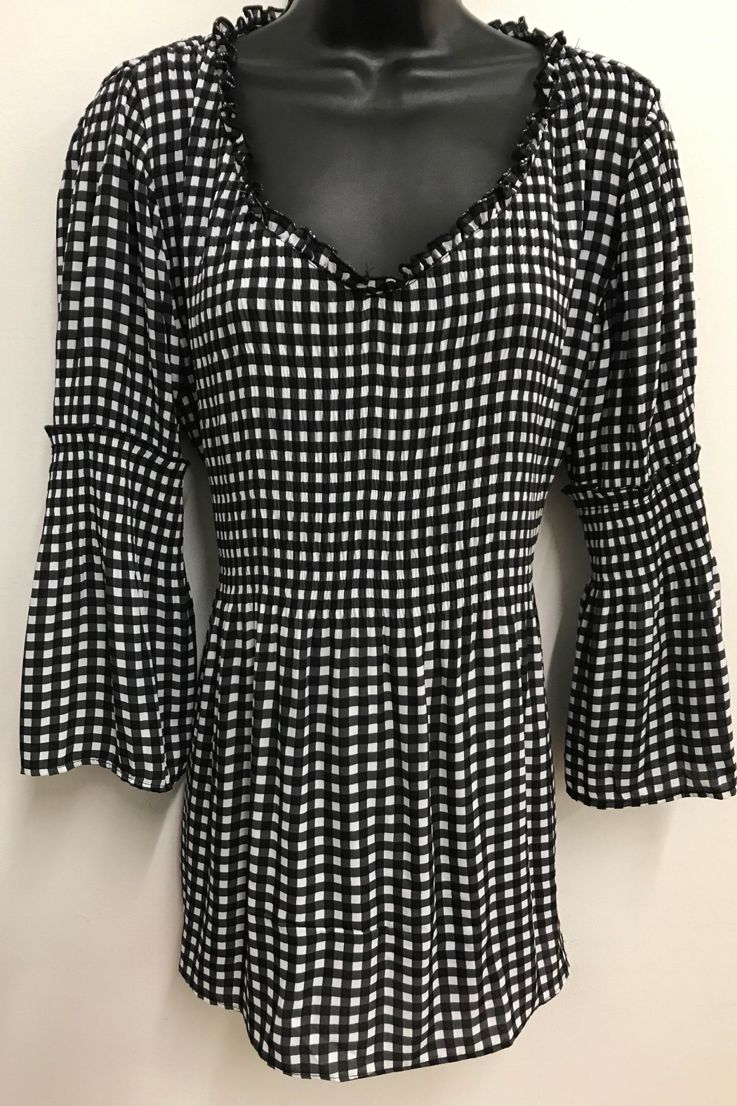 Charlie B. Black/white Check Blouse - Front Cropped Image