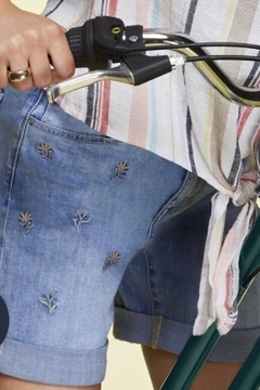 Shoptiques Product: Denim Embroidered Shorts