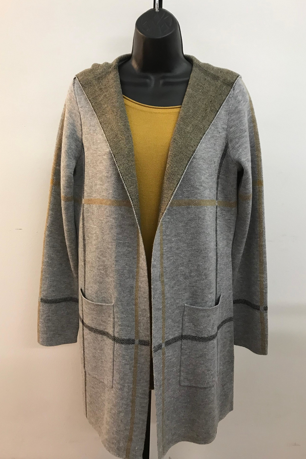 Charlie B. Hooded Plaid Cardigan - Front Cropped Image