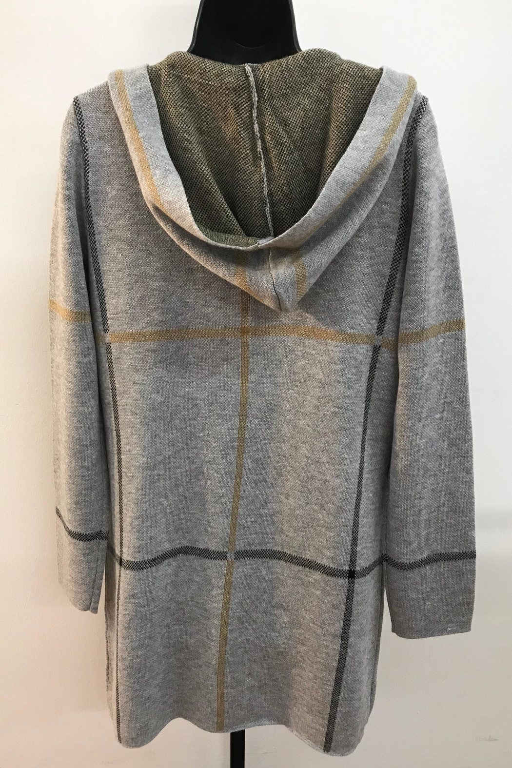 Charlie B. Hooded Plaid Cardigan - Front Full Image