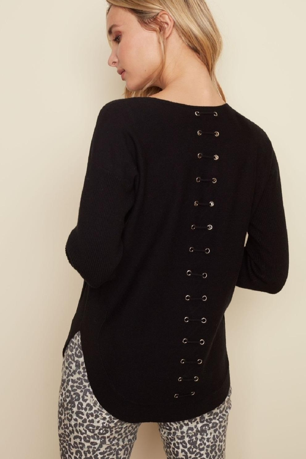 Charlie B. Lace Back Sweater - Front Full Image