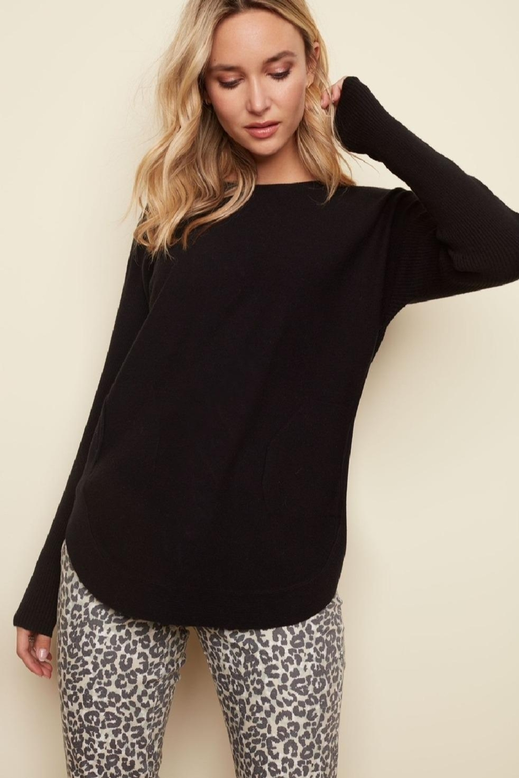 Charlie B. Lace Back Sweater - Side Cropped Image