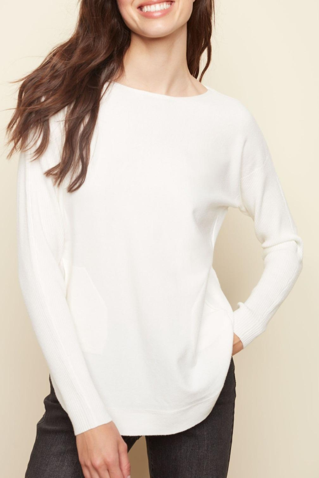 Charlie B. Lace Back Sweater - Front Cropped Image