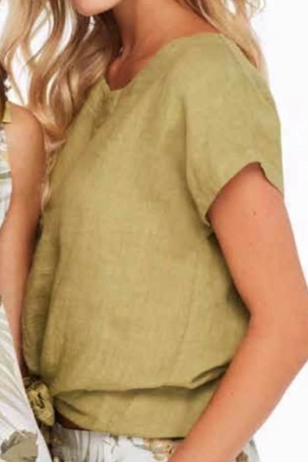 Charlie B. Linen Tie Top - Front Cropped Image