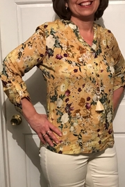Charlie B. Mustard Print Blouse - Front cropped