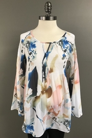 Charlie B. Plisse Babydoll Blouse - Front cropped