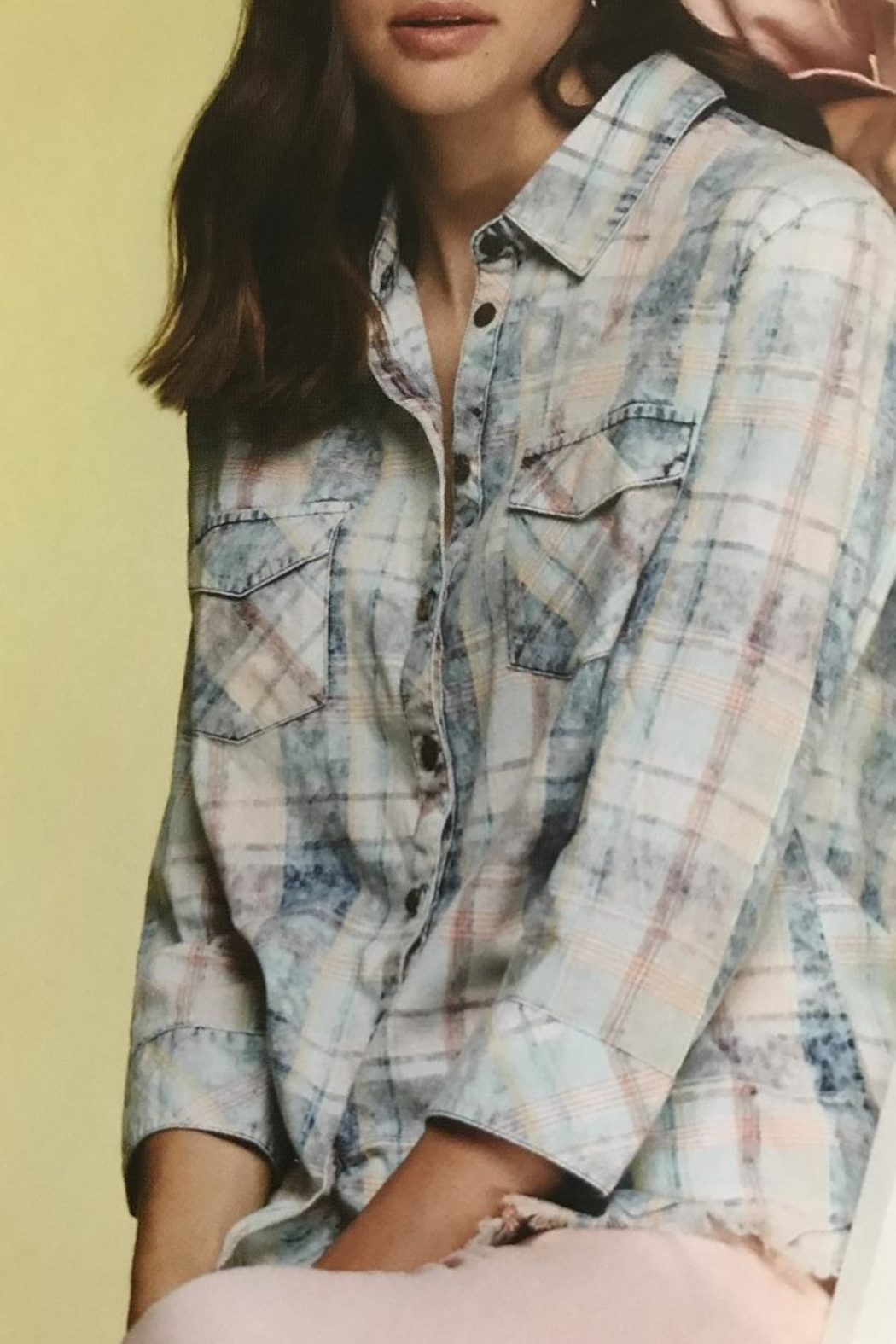 Charlie B. Pretty Pastel Plaid Shirt - Front Cropped Image