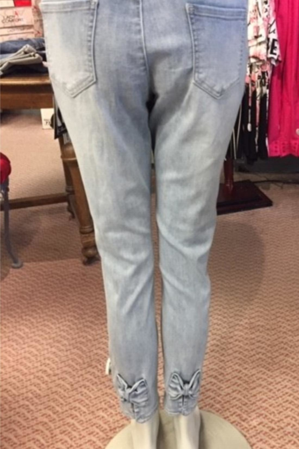 Charlie B. Pull On Ankle Denim With Bow - Front Full Image