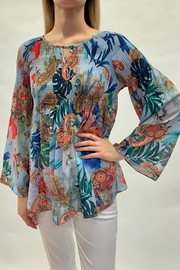 Charlie B. Tropical Smocked Top - Front cropped