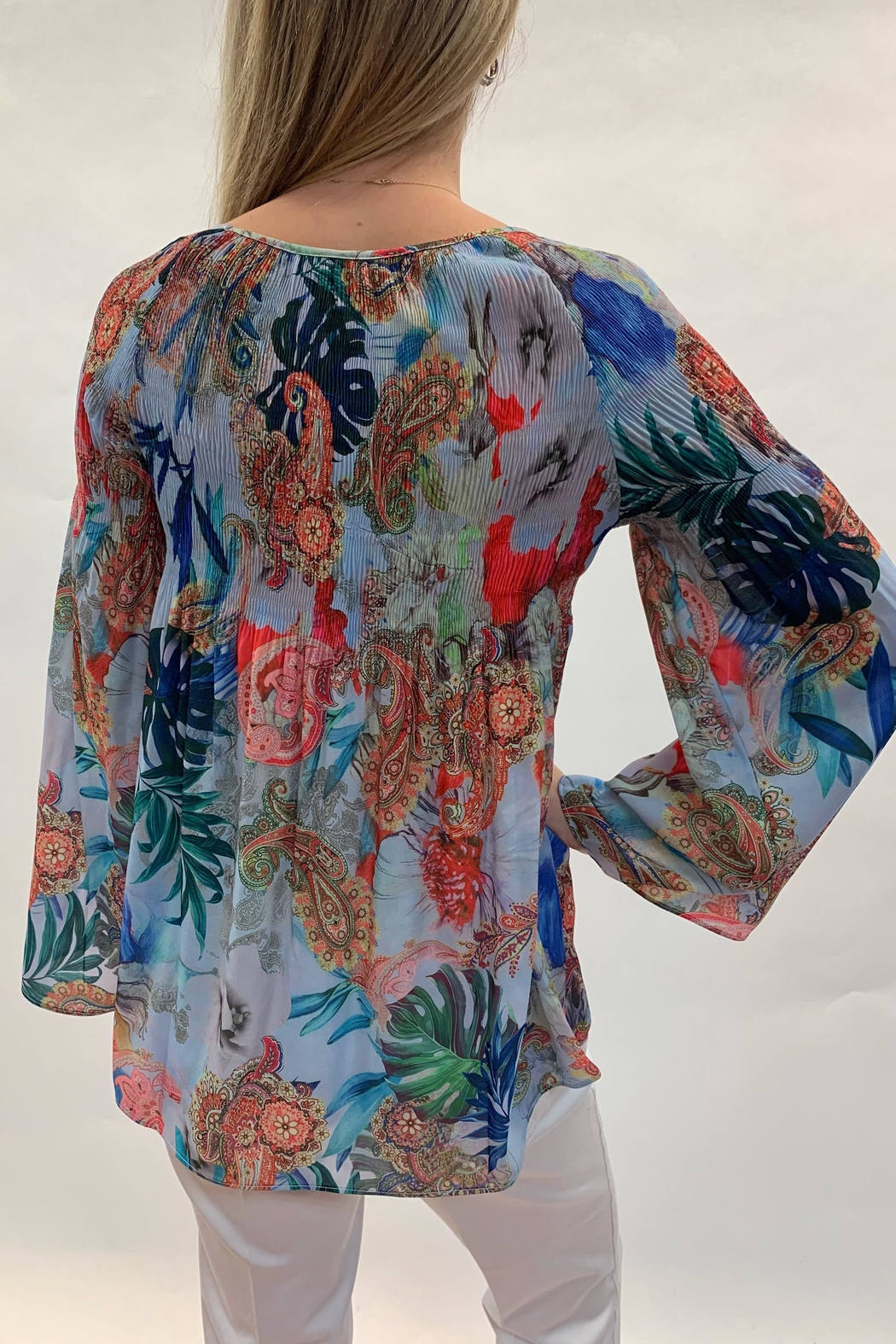 Charlie B. Tropical Smocked Top - Front Full Image