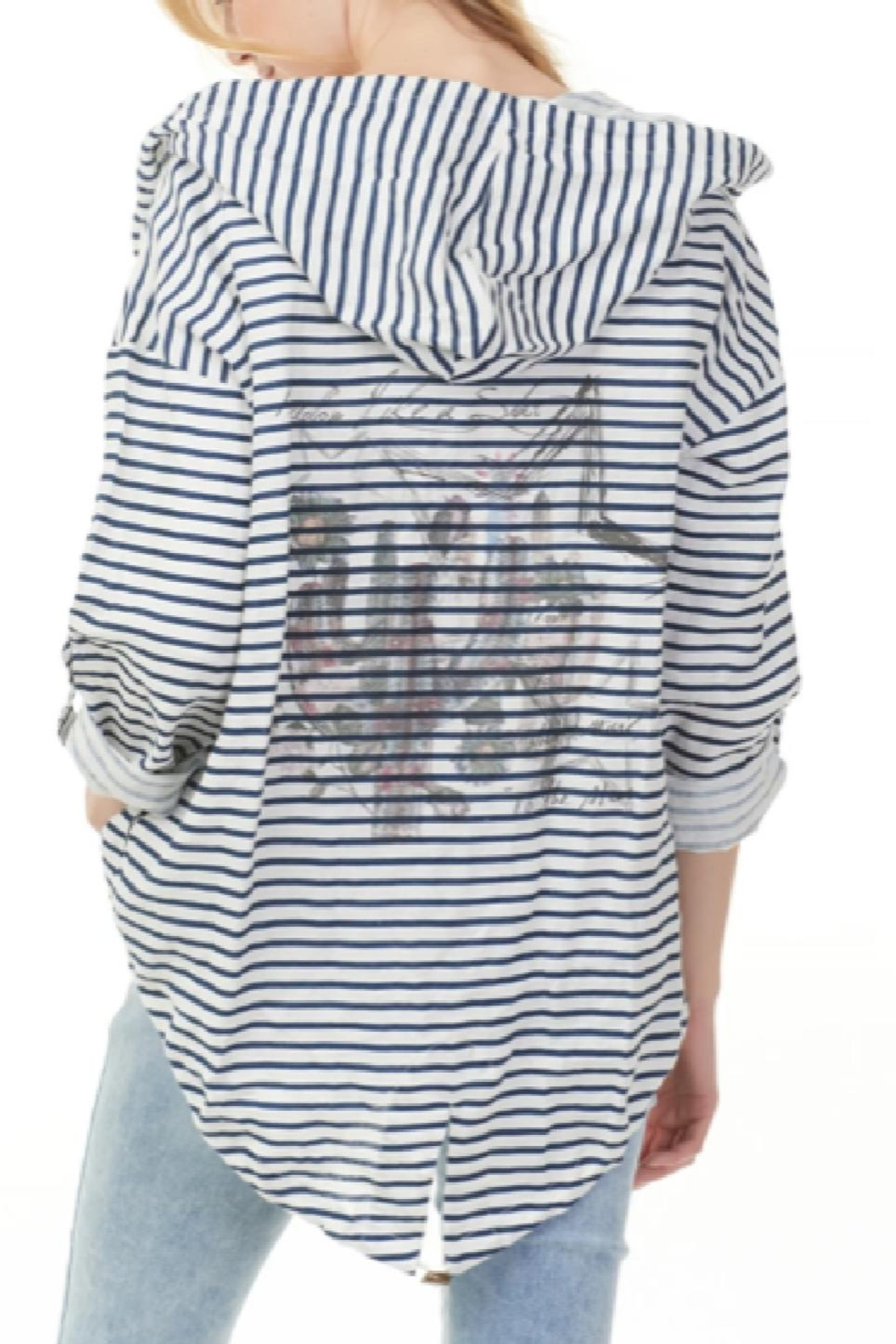 Charlie B Nautical Open Hoodie Jacket - Front Full Image