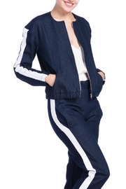 Charlie May Denim Track Jacket - Front cropped