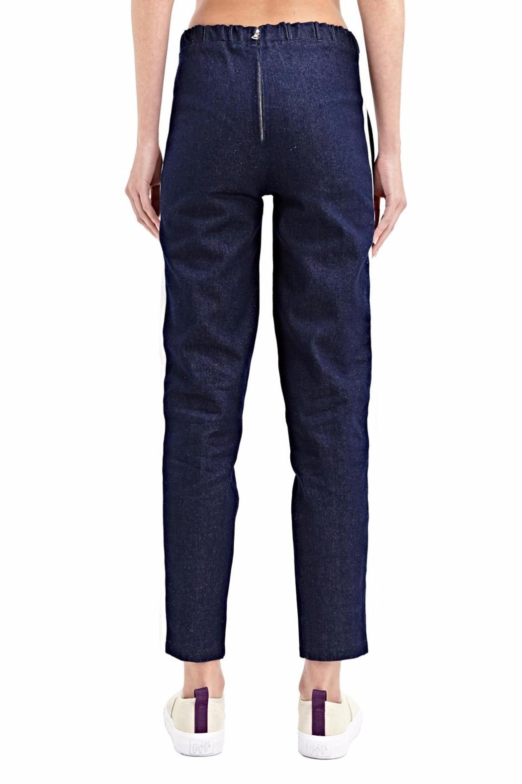 Charlie May Denim Track Pants - Side Cropped Image
