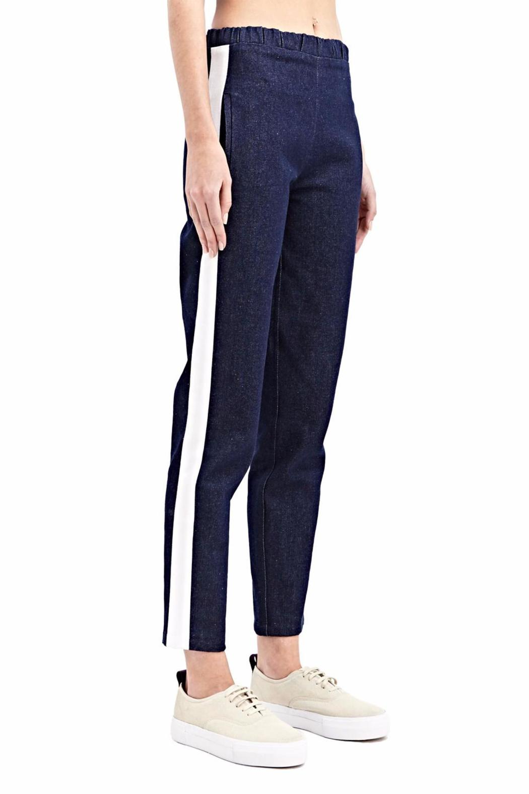 Charlie May Denim Track Pants - Front Cropped Image