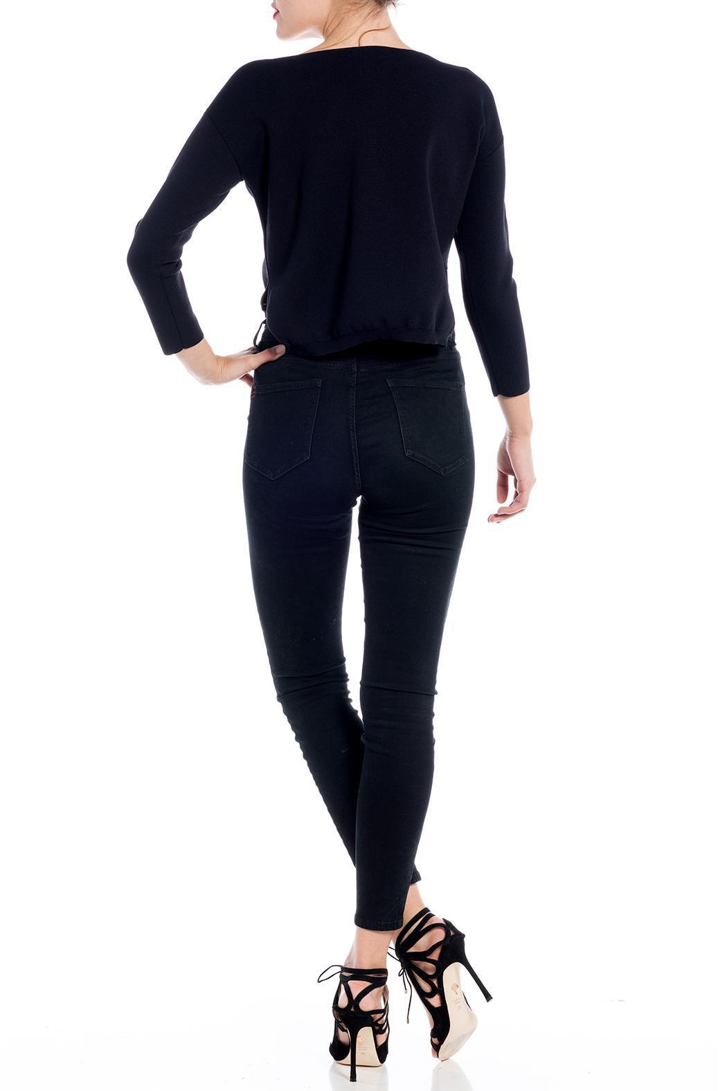 Charlie May Open Neck Sweater - Back Cropped Image