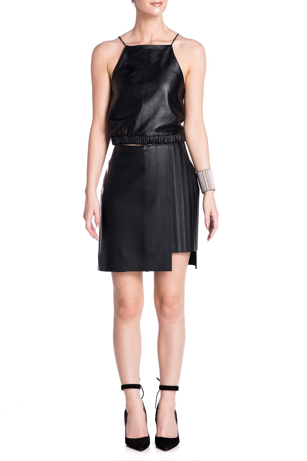 Charlie May Rubberized Leather Skirt - Front Full Image