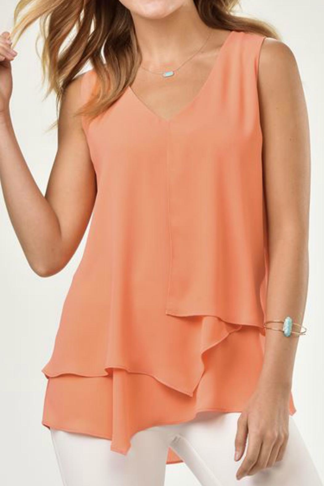 Charlie Paige Asymmetrical Chiffon Top - Front Cropped Image