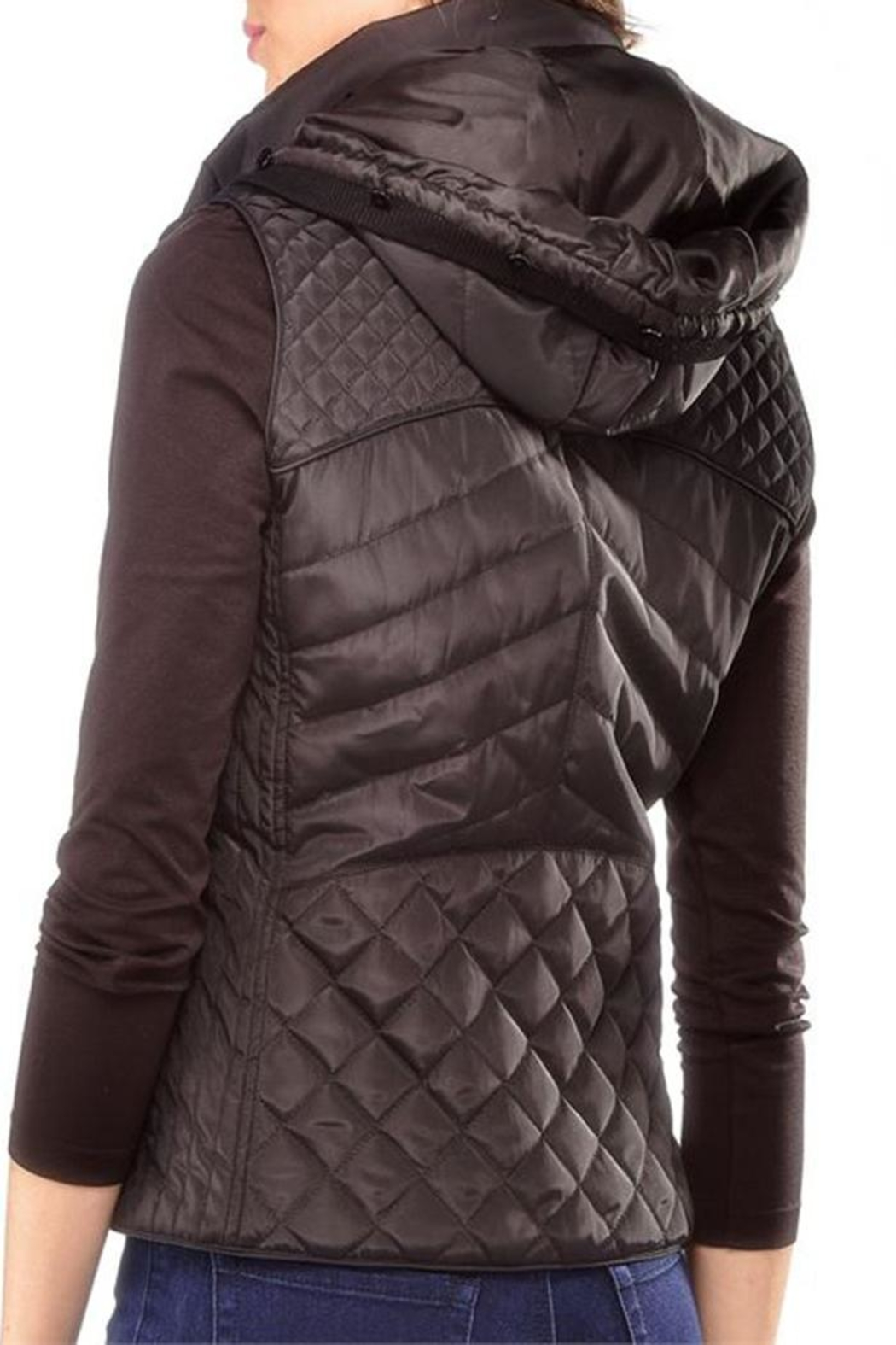 Charlie Paige Black Quilted Vest - Front Full Image