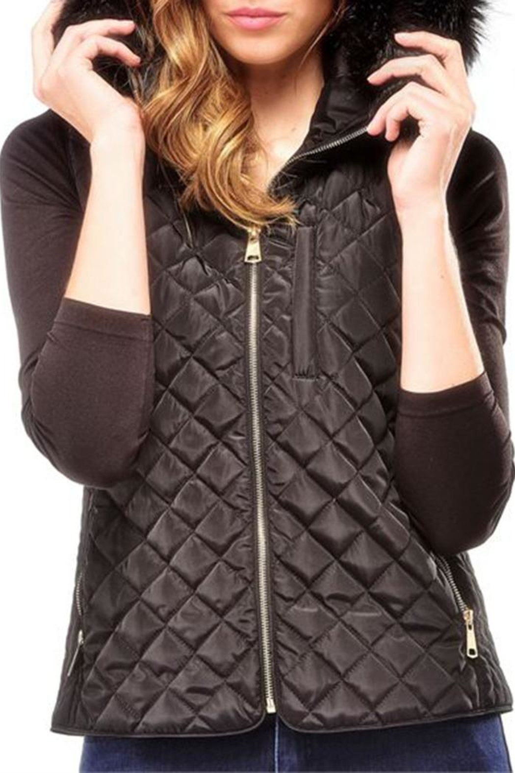 Charlie Paige Black Quilted Vest - Main Image