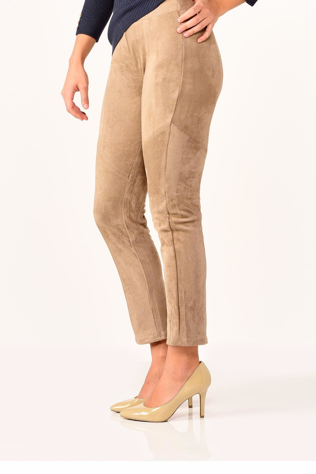 Charlie Paige Faux Suede Leggings - Side Cropped Image