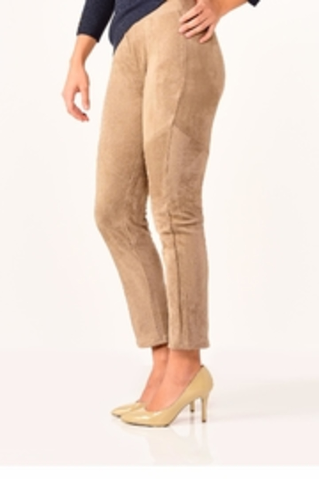 Charlie Paige Faux Suede Leggings - Front Full Image