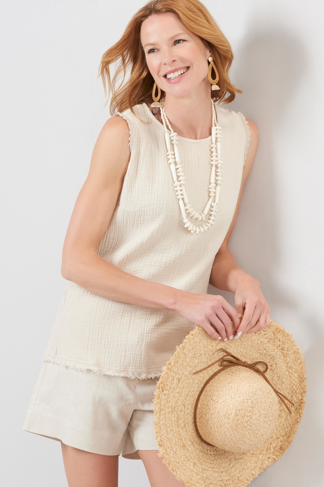 Charlie Paige Frayed Gauzy Top - Front Full Image