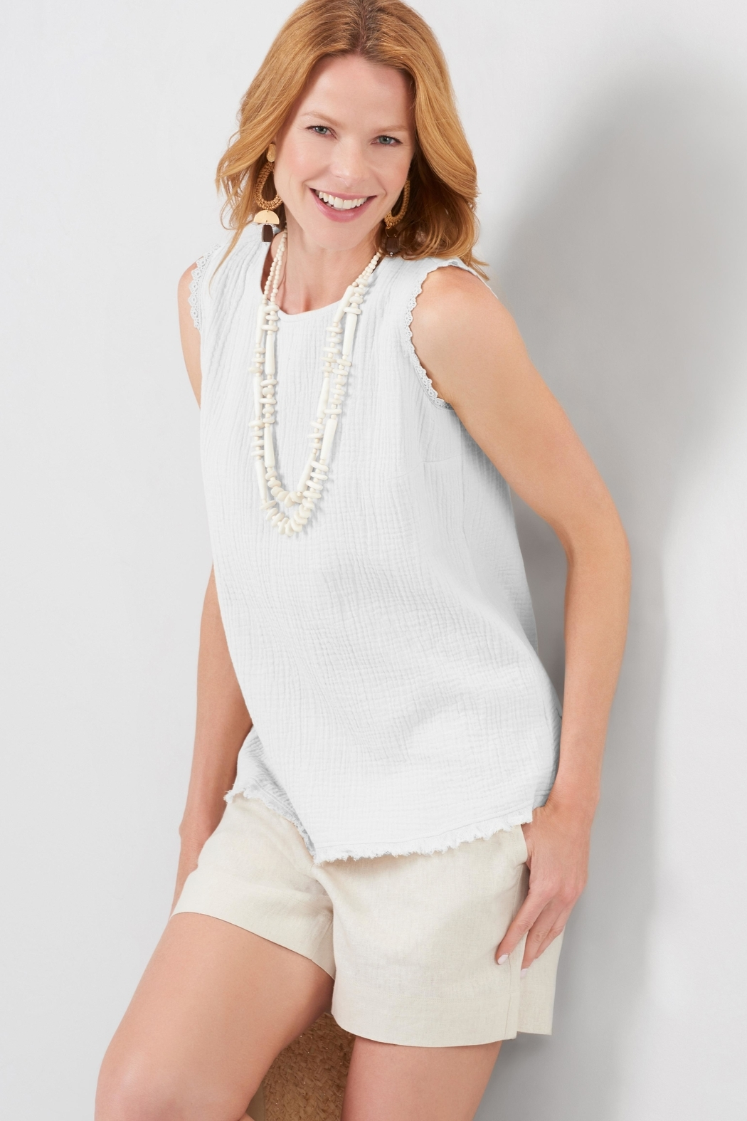 Charlie Paige Frayed Gauzy Top - Front Cropped Image