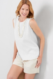 Charlie Paige Frayed Gauzy Top - Front cropped