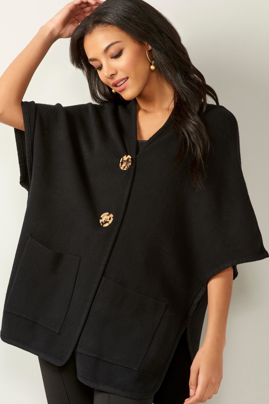 Charlie Paige Knit Pocket Cape - Front Full Image