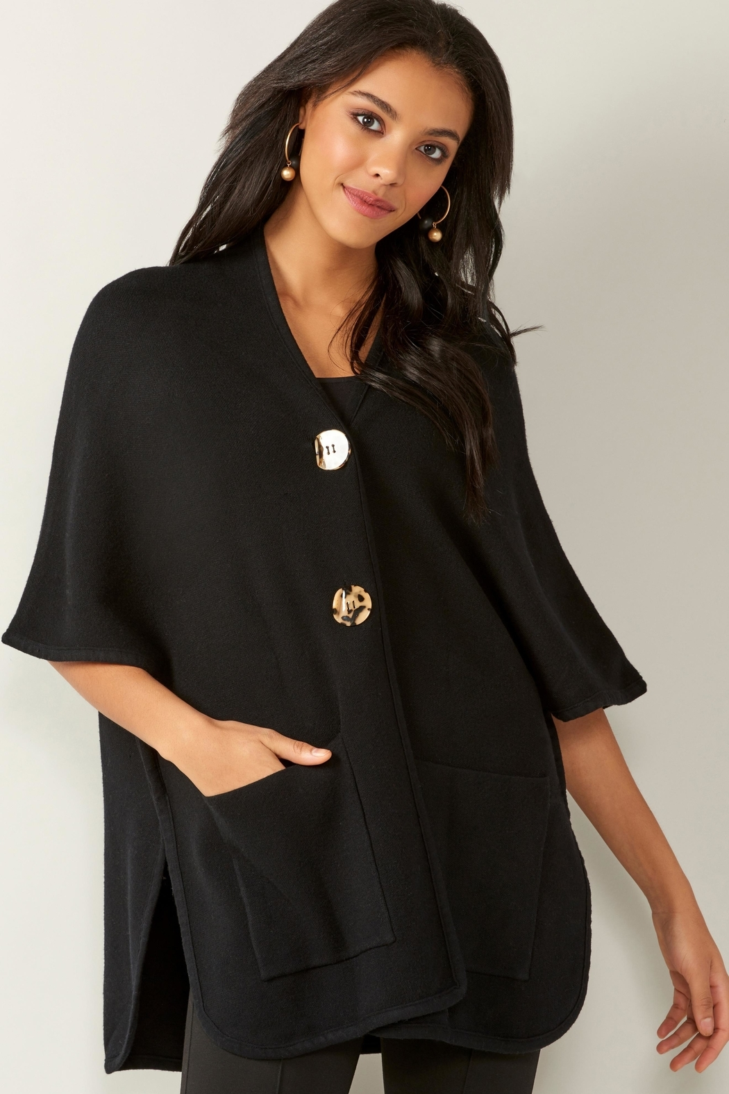 Charlie Paige Knit Pocket Cape - Front Cropped Image